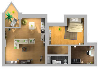 modern interior on the top view (3d rendering)...