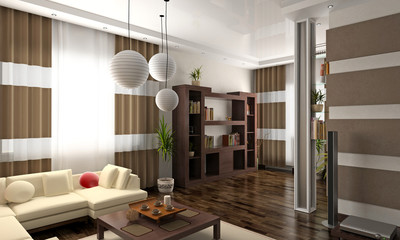 modern private interior (3D rendering).