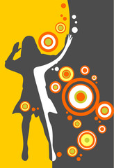 Pretty girl silhouette and circles on a yellow background.