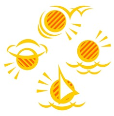 Four stylized sun symbols on a white background.