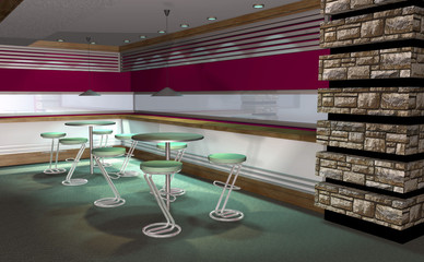 3D render of modern house interior, abstract