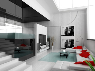 Interior of a modern white drawing tv room