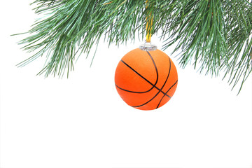Christmas tree. Decoration in basketball style.