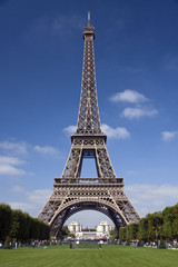 The Eiffel Tower in Paris on a sunny day