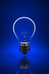 fine background 3d image of blue light bulb