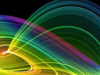 multicolored abstraction over black, high quality rendered image