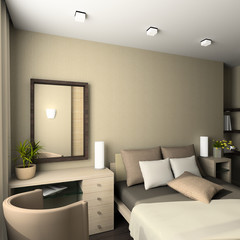Iinterior of modern bedroom. 3D render