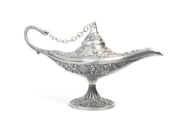 silver aladdin's magic lamp, isolated on white
