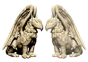 3d statues griffin from stone. Objects over white