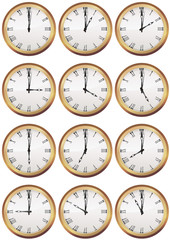 Collection d'horloges anciennes heure par heure (détouré)