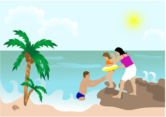 Family with daughter on the beach