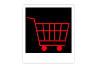 shopping cart, polaroid photo