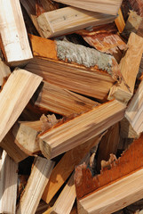 pile of wooden billets for making fire