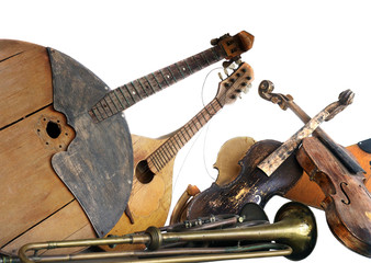 old broken music instruments isolated
