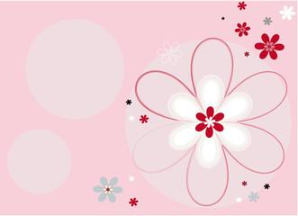 Fond graphique horizontal fleurs roses et blanches
