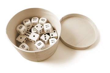 Dice in Box on Isolated White Background