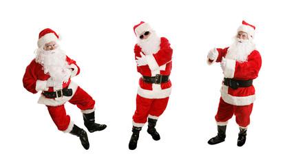 Three views of a cheerful, dancing santa