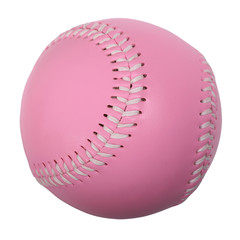 Pink colored baseball with white stitches isolated on white