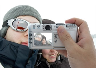 Taking pictures of winter vacation with digital camera