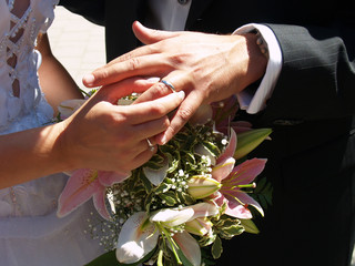 bride putting marriage ring on groom's finger