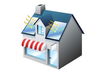 Petit commerce et panneau solaire (détouré)
