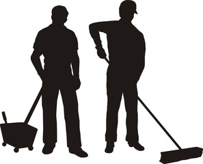 Silhoutte Of Men Cleaning