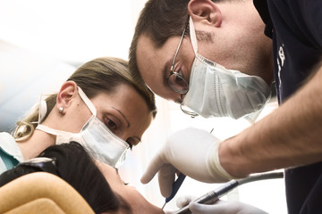 Female patient takes a dental attendance.