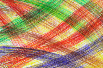 Hand-drawn multicoloured crayon abstract background.