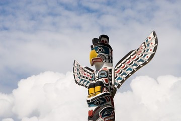 Totem pole in Vancouver, British Columbia, Canada