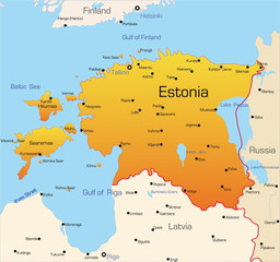Abstract vector color map of Estonia country