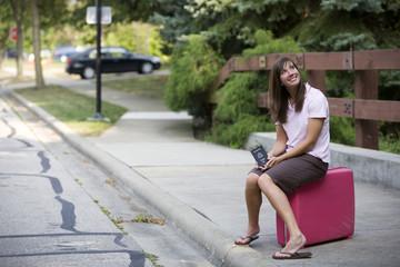 female traveller awaits a dream vacation