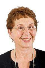 closeup  portrait off a senior businesswoman isolated on white