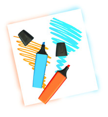 Two coloured markers with scribbles on white background