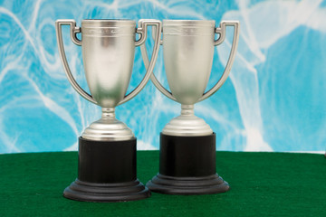 Two trophies on green with blue background