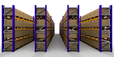 3D render of racking full of boxes