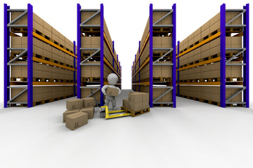 Person stacking boxes in warehouse full of racking