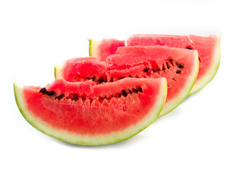 astrakhan red and ripe watermelon on a white background