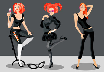 vector image of nice flirting girls on evening-party.