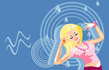 vector image of dancing girl