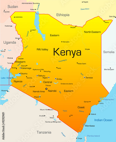 """""""Abstract Vector Color Map Of Kenya Country"""" Stock Photo"""