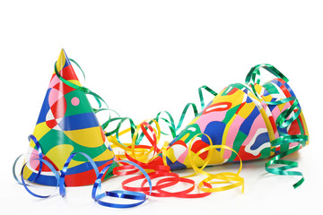 Party hats, paper streamer isolated on white background