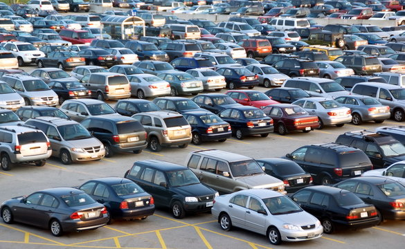 Parking lot is full of cars