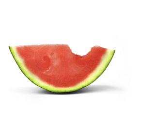 water melon slice with bite-mark