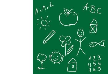 Schultafel mit ABC und Motiven zum Schulanfang