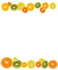 A slices of fresh orange, lemon and kiwi background