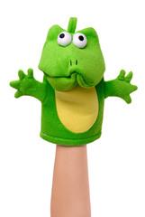 Hand puppet of frog isolated on white, sad emotion.