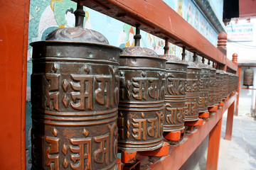 Prayer wheels in Kathmandu, Nepal