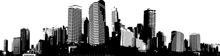 Black and white panorama city. Vector art