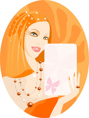 vector image of girl with blank card for your info