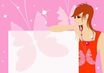vector image of woman profile with blank area for your info